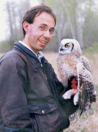 George and a Great Horned Owl